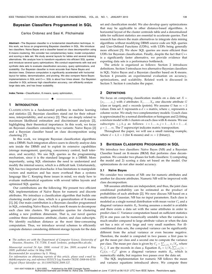 IEEE TRANSACTIONS ON KNOWLEDGE AND DATA ENGINEERING,                        VOL. 22,   NO. 1,    JANUARY 2010             ...
