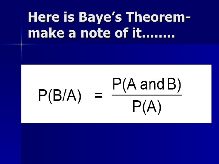 Here is Baye's Theorem- make a note of it........