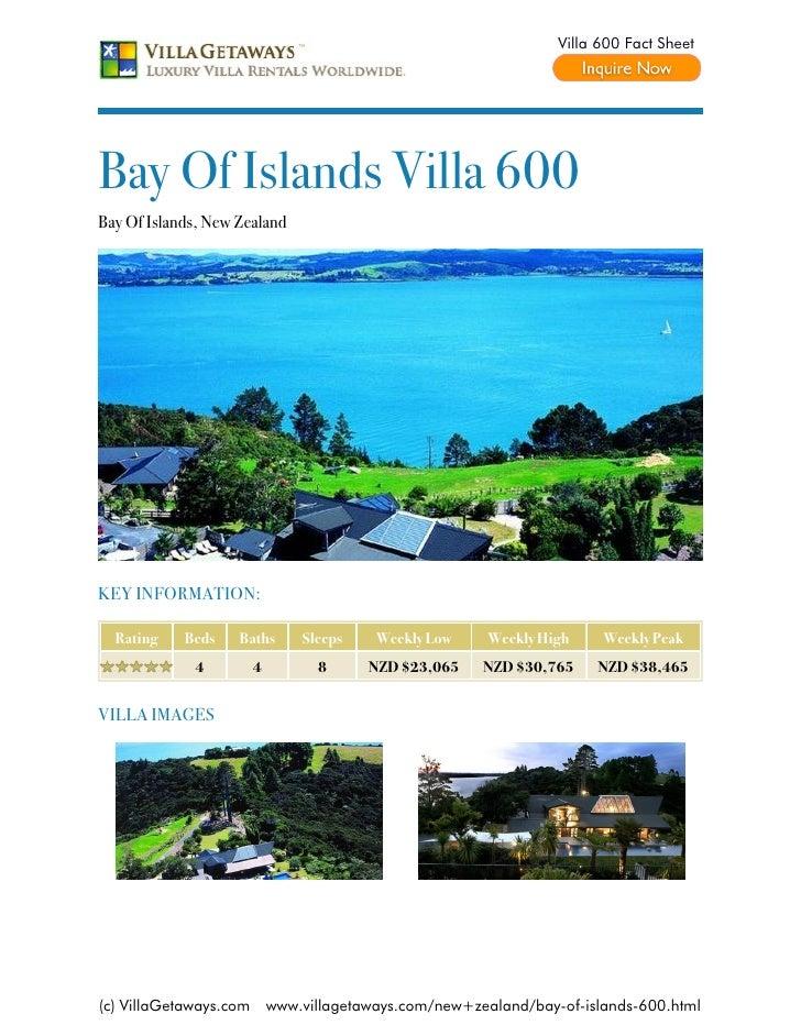 Bay of islands villa 600