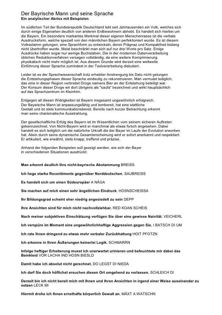 Der Bayrische Mann und seine Sprache Ein analytischer Abriss mit Beispielen  Im südlichen Teil der Bundesrepublik Deutschl...