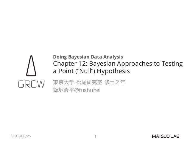 Doing Bayesian Data Analysis Chapter 12: Bayesian Approaches to Testing a Point (''Null'') Hypothesis 東京大学 松尾研究室 修士2年 飯塚修平...