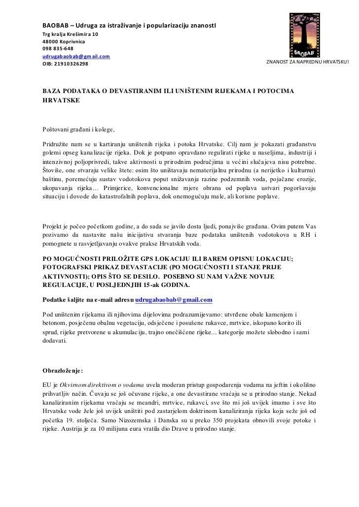 Baza podataka o uništenim rijekama i potocima hrvatske