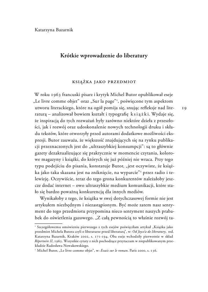 """Katarzyna Bazarnik """"Krótkie wprowadzenie do liberatury."""""""