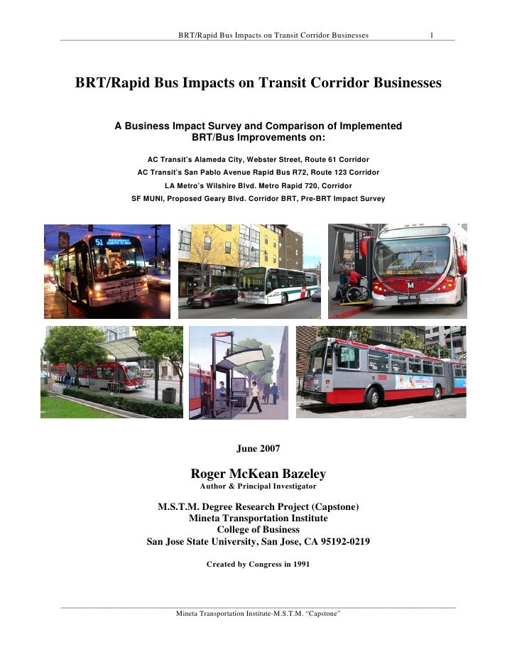 BRT/Rapid Bus Impacts to Transit Corridor Businesses_Research Project, MTI-Roger-Bazeley