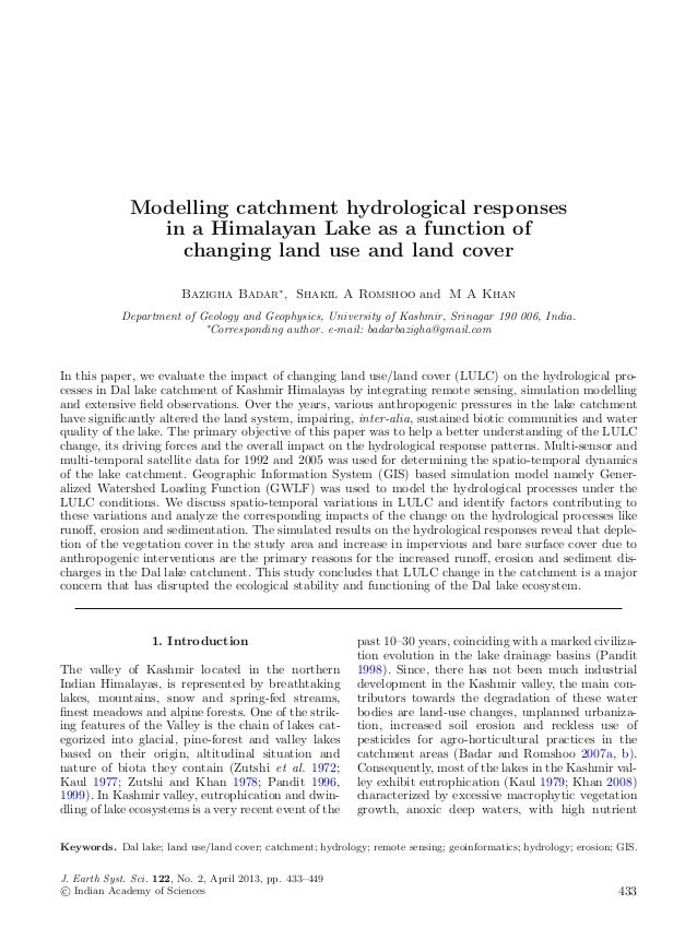 Modelling catchment hydrological responses                in a Himalayan Lake as a function of                  changing l...