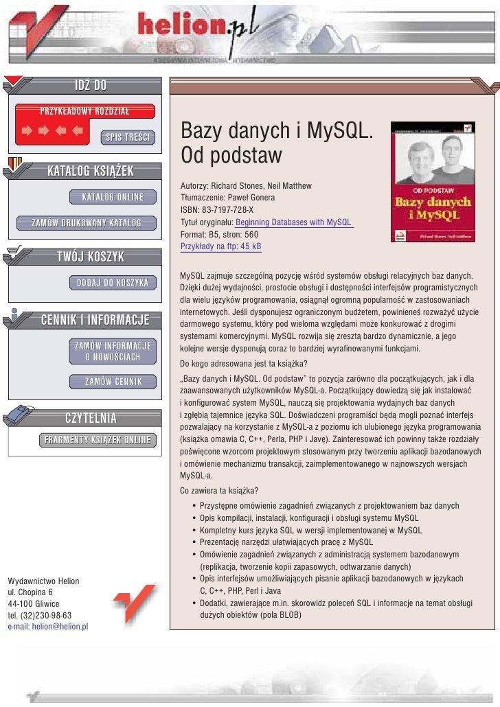 IDZ DO          PRZYK£ADOWY ROZDZIA£                             SPIS TRE CI   Bazy danych i MySQL.                       ...