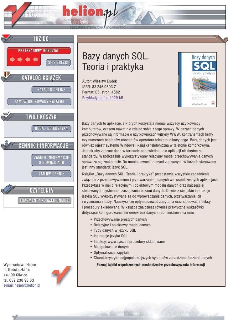 Bazy danych SQL. Teoria i praktyka