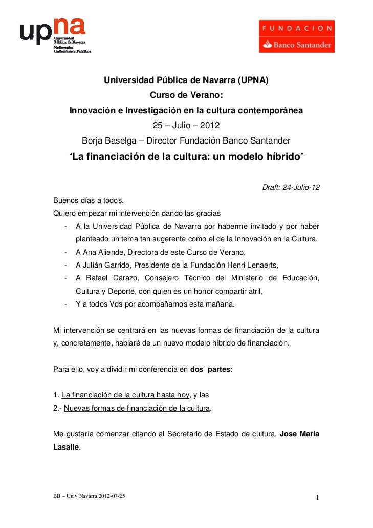 """Conferencia, Borja Baselga, """"La financiación de la cultura: Un modelo híbrido"""""""