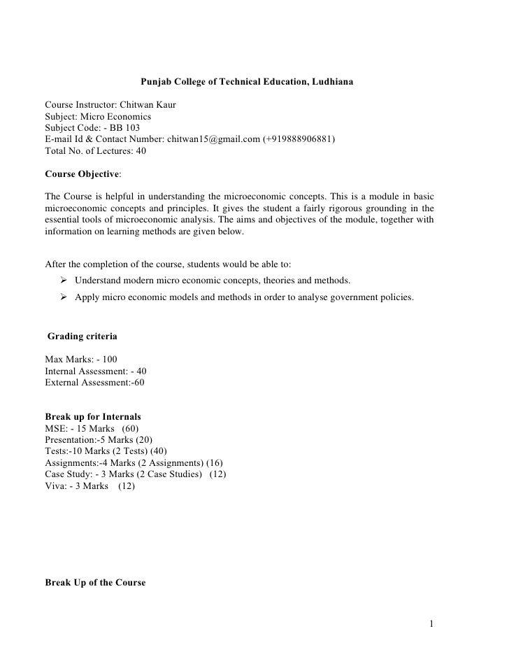 Punjab College of Technical Education, Ludhiana  Course Instructor: Chitwan Kaur Subject: Micro Economics Subject Code: - ...