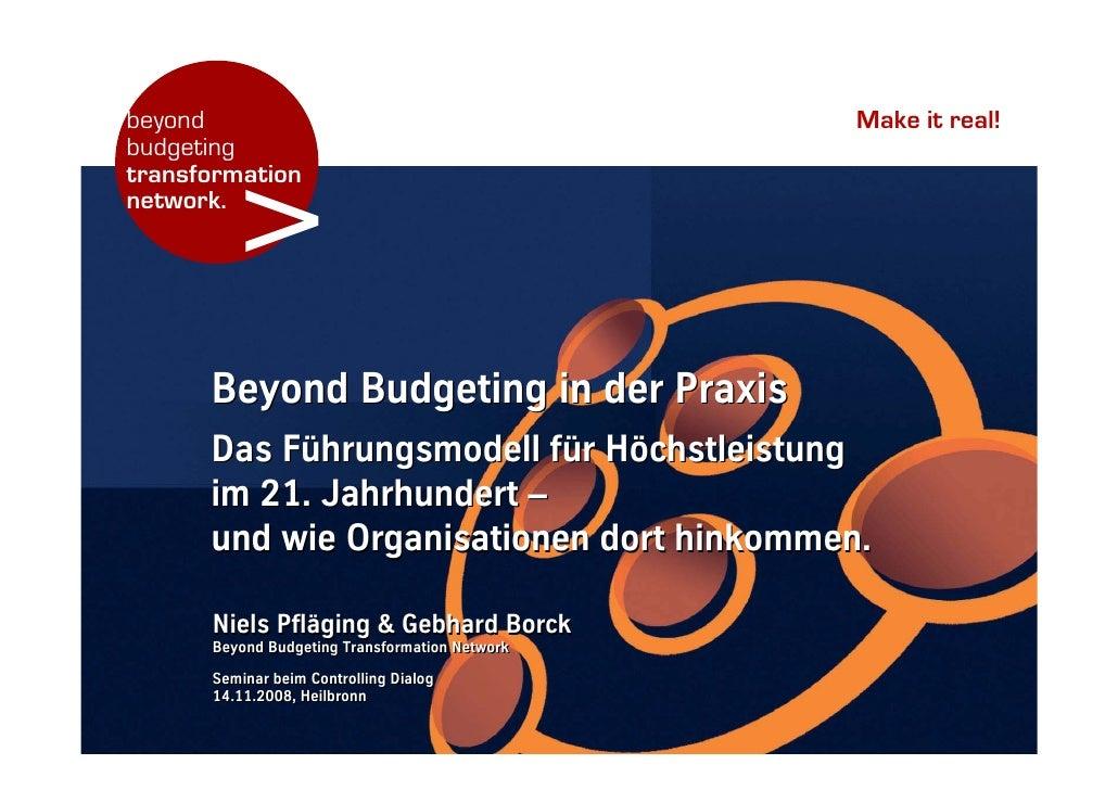 Seminar (DE): Beyond Budgeting in der Praxis, Heilbronn/Germany, organized by Controlling Dialog