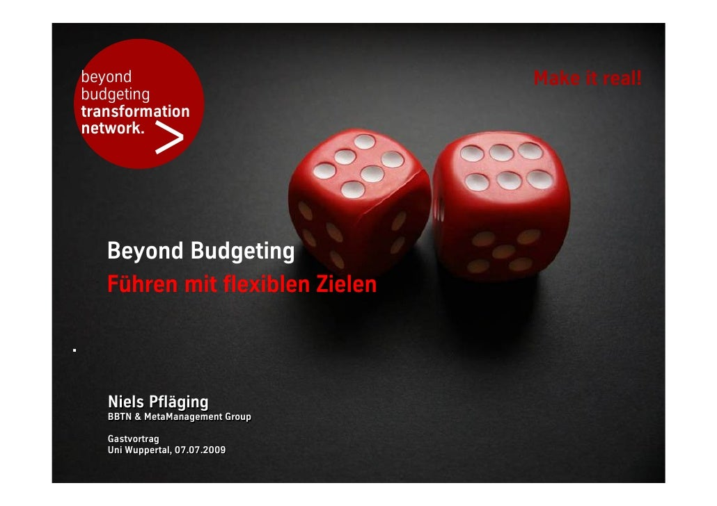Keynote (DE): Beyond Budgeting - Führen mit Flexiblen Zielen, at University Wuppertal, Germany