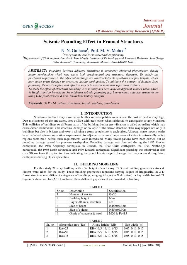 International OPEN  Journal  ACCESS  Of Modern Engineering Research (IJMER)  Seismic Pounding Effect in Framed Structures ...