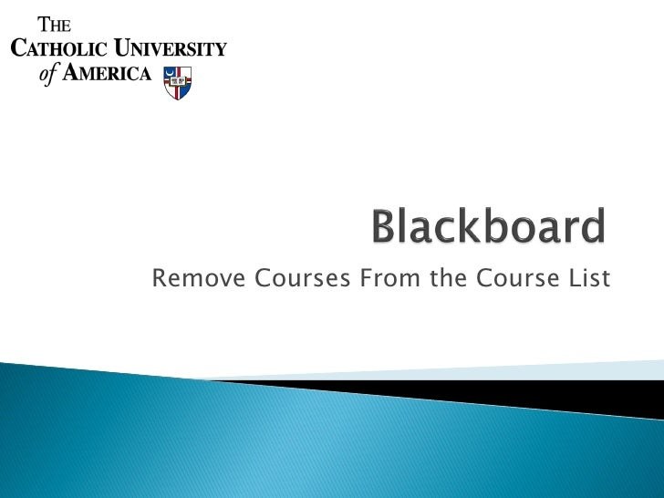 Remove Courses From the Course List