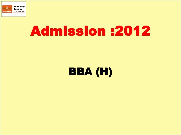 Admission :2012    BBA (H)