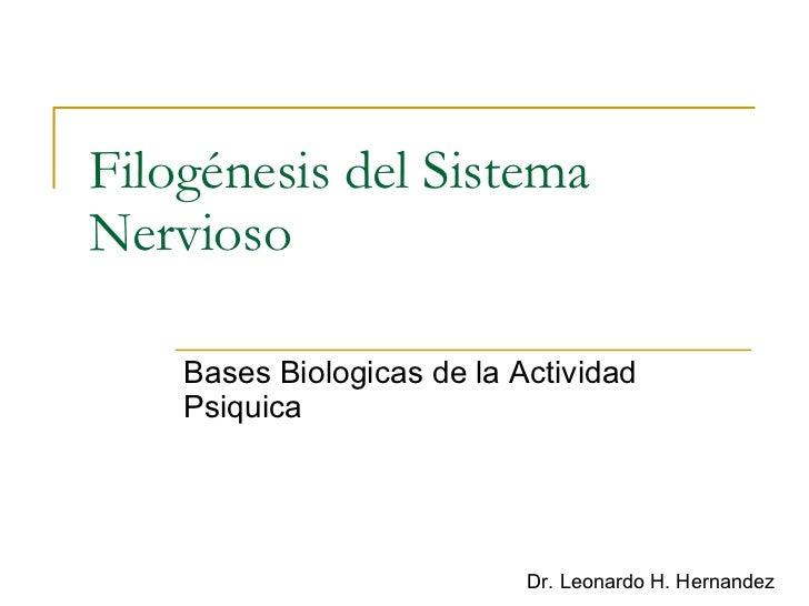 Filogénesis del Sistema Nervioso Bases Biologicas de la Actividad Psiquica Dr. Leonardo H. Hernandez