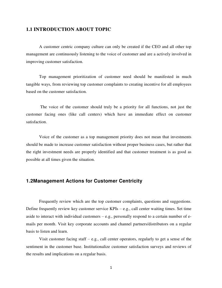 Bba project about customer centric