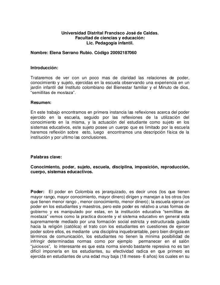 Universidad Distrital Francisco José de Caldas.<br />Facultad de ciencias y educación:<br />Lic. Pedagogía infantil.<br />...