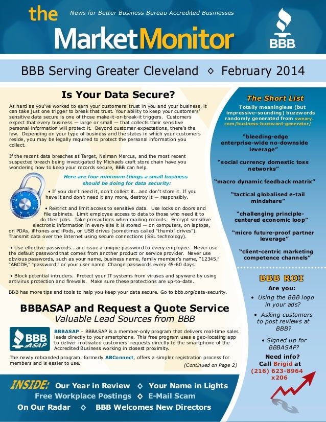 MarketMonitor the ® News for Better Business Bureau Accredited Businesses BBB Serving Greater Cleveland February 2014 INSI...