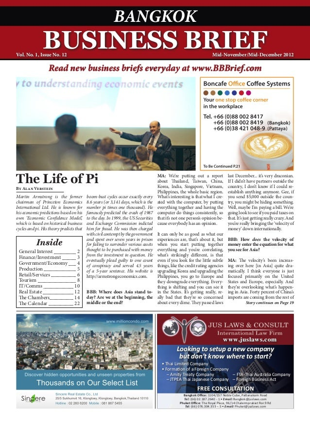 Bandkok Business Brief Magazine - November 2012