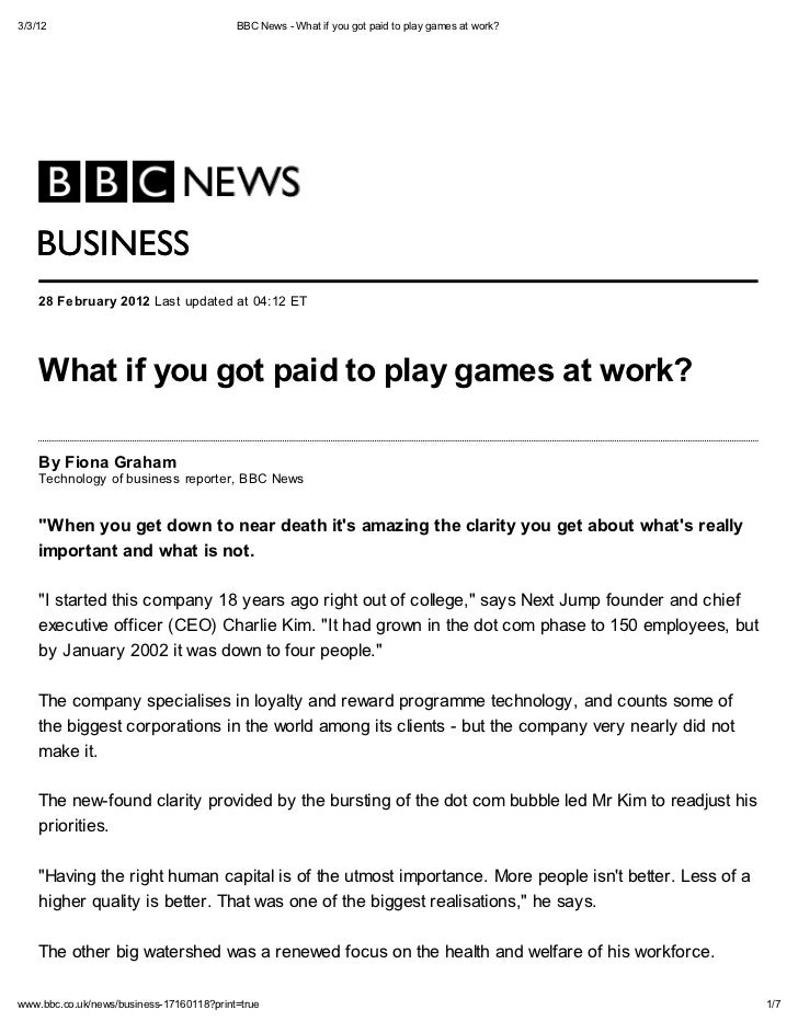 Bbc news   what if you got paid to play games at work