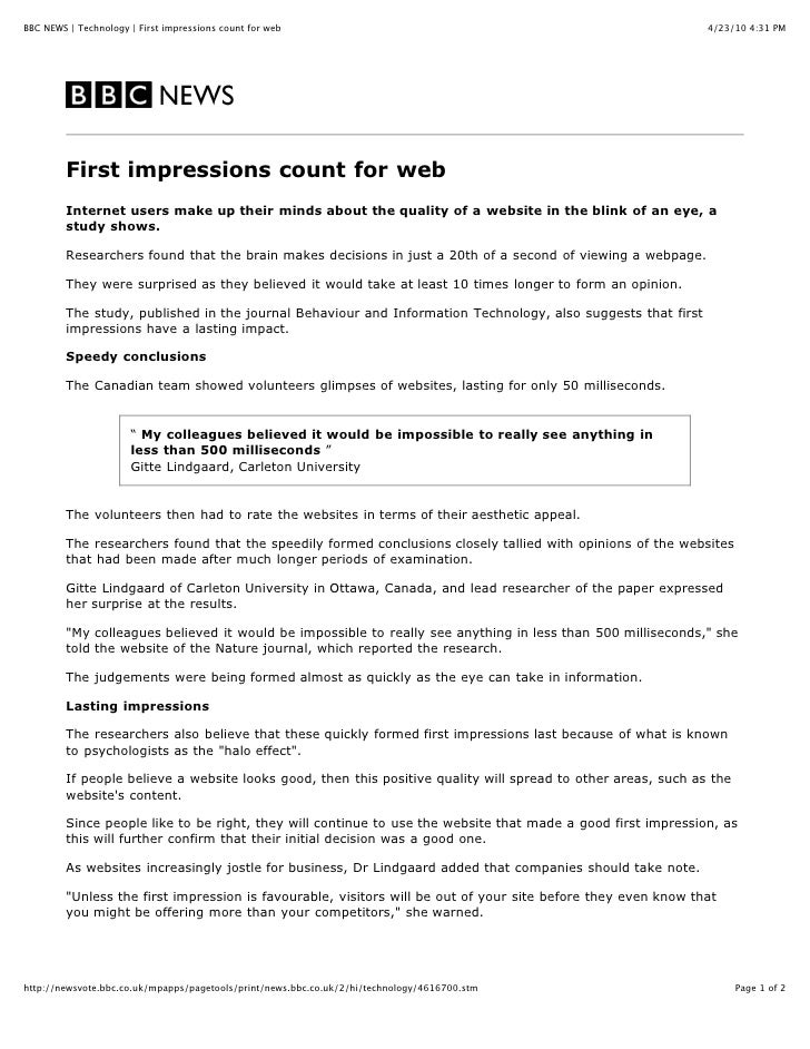 BBC First Impressions Count For Web