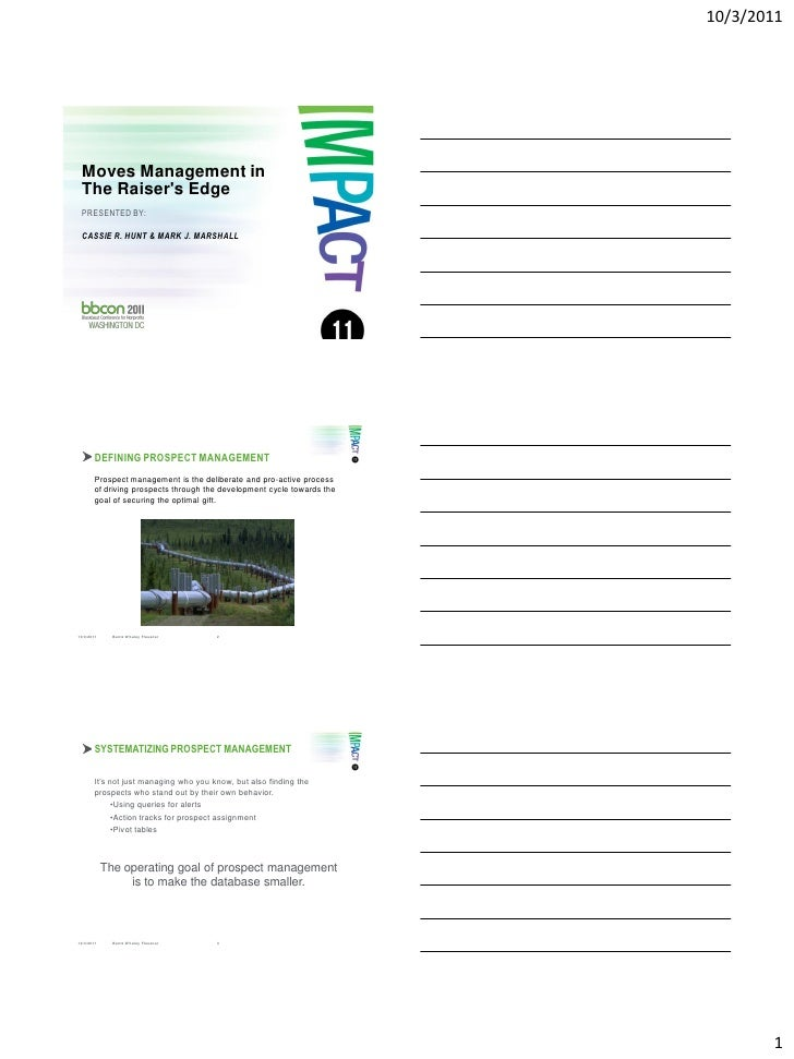 10/3/2011 Moves Management in The Raisers Edge PRESENTED BY: CASSIE R. HUNT & MARK J. MARSHALL10/3/2011     Bentz Whaley F...