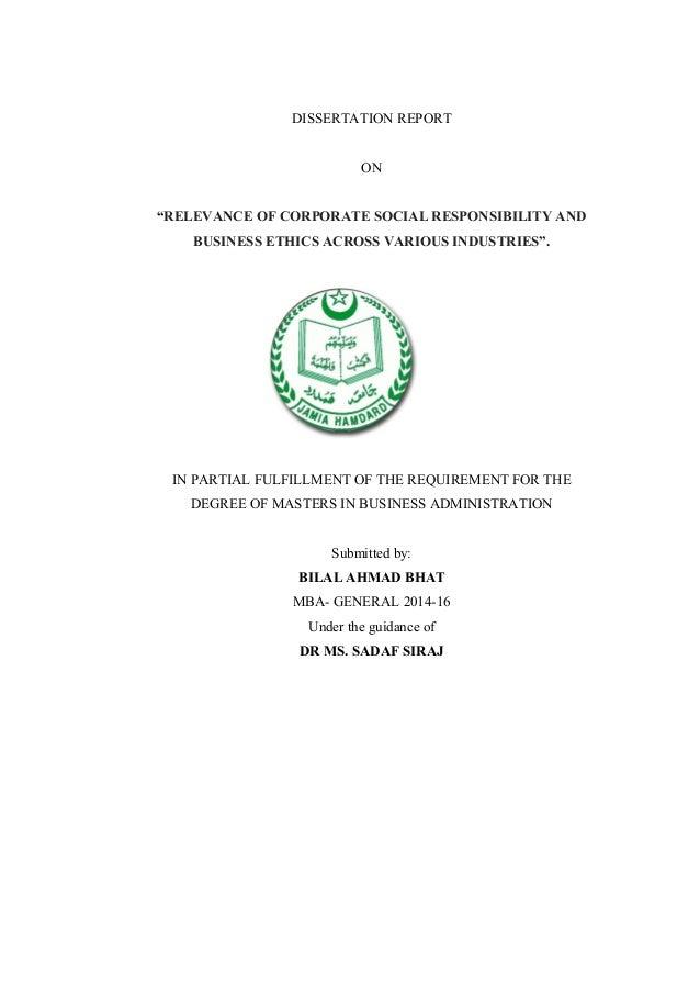Corporate social responsibility dissertation report