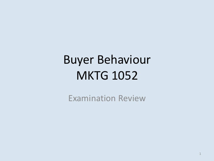 Buyer Behaviour  MKTG 1052Examination Review                     1