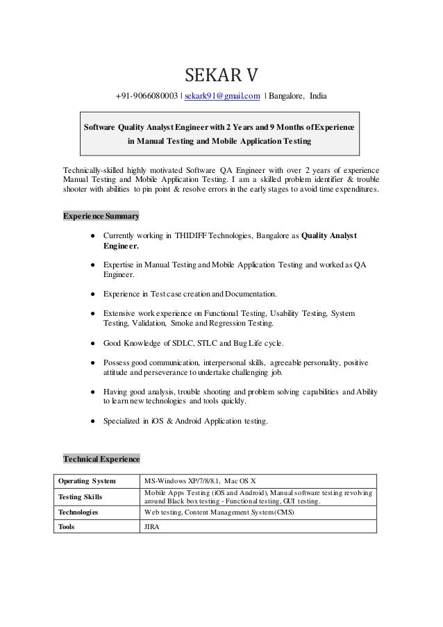 sekar quality analyst resume doc
