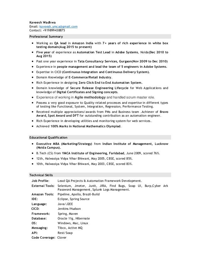 automation test lead kaveesh resume pdf
