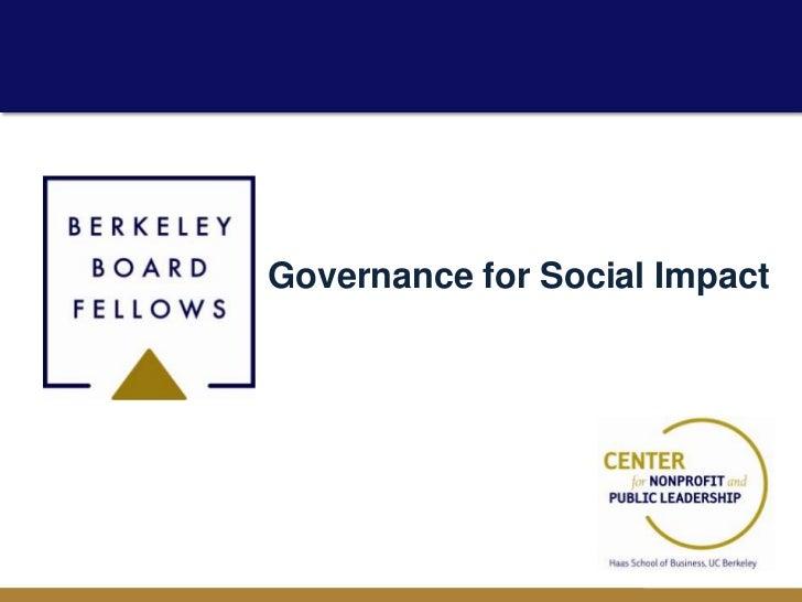 Governance for Social Impact