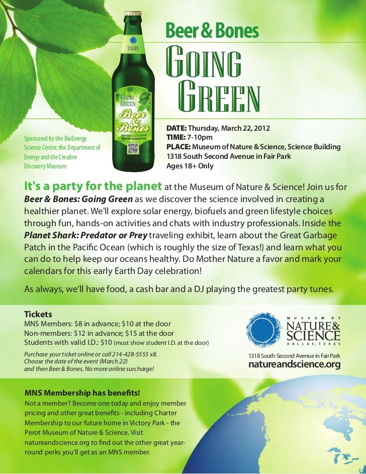 Beer & Bones                                                       DATE: Thursday, March 22, 2012Sponsored by the BioEnerg...