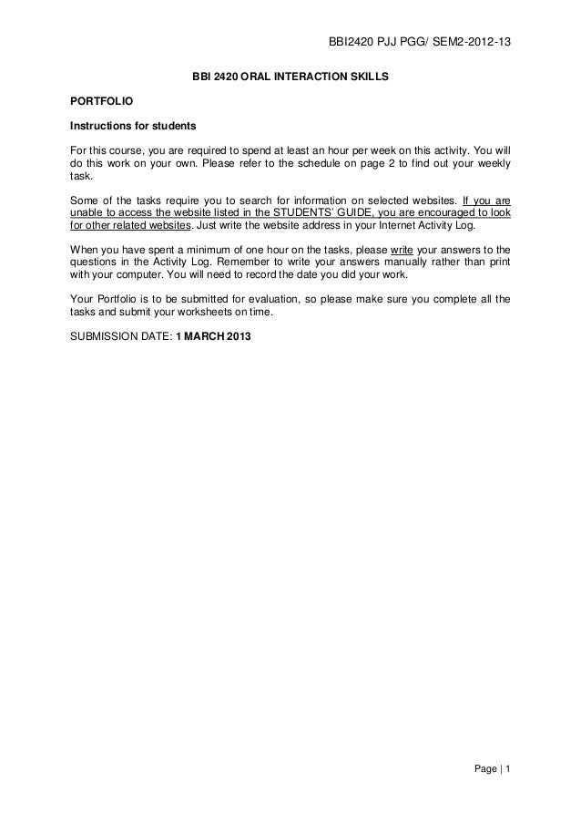 BBI2420 PJJ PGG/ SEM2-2012-13                          BBI 2420 ORAL INTERACTION SKILLSPORTFOLIOInstructions for studentsF...