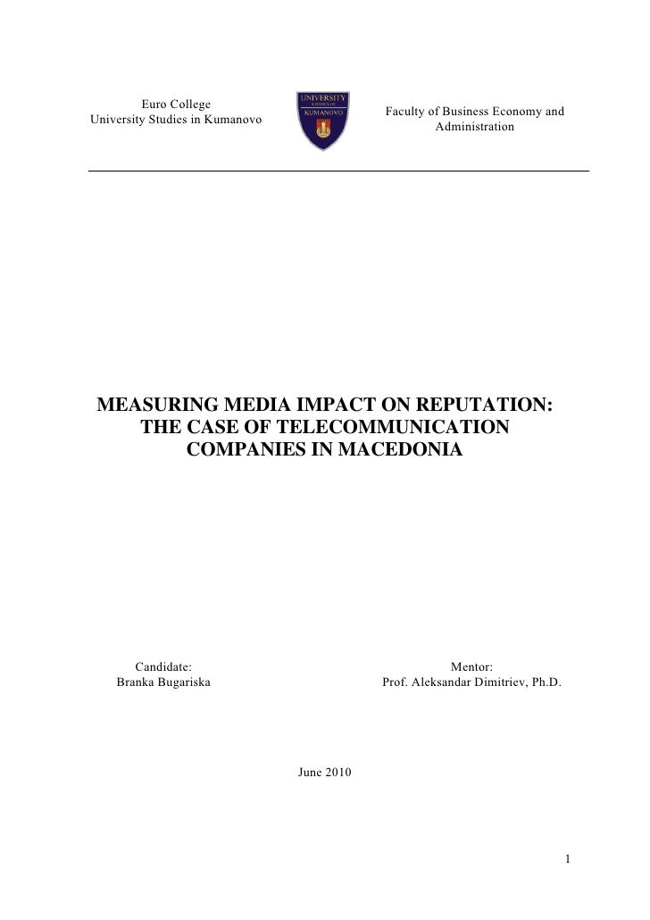 Measuring Media Impact on Corporate Reputation (master thesis)