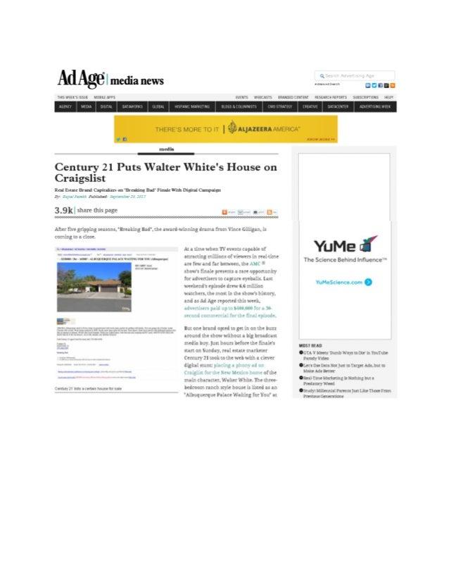Ad Age: CENTURY 21 Puts Walter White's Home on Craiglist