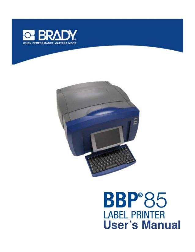 Brady BBP85 User Manual