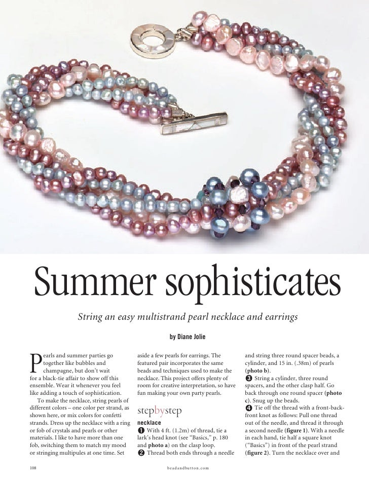 Summer sophisticates                     String an easy multistrand pearl necklace and earrings                           ...