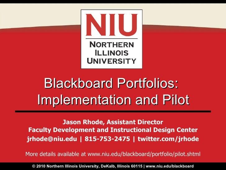 NIU Blackboard Portfolio Pilot Information
