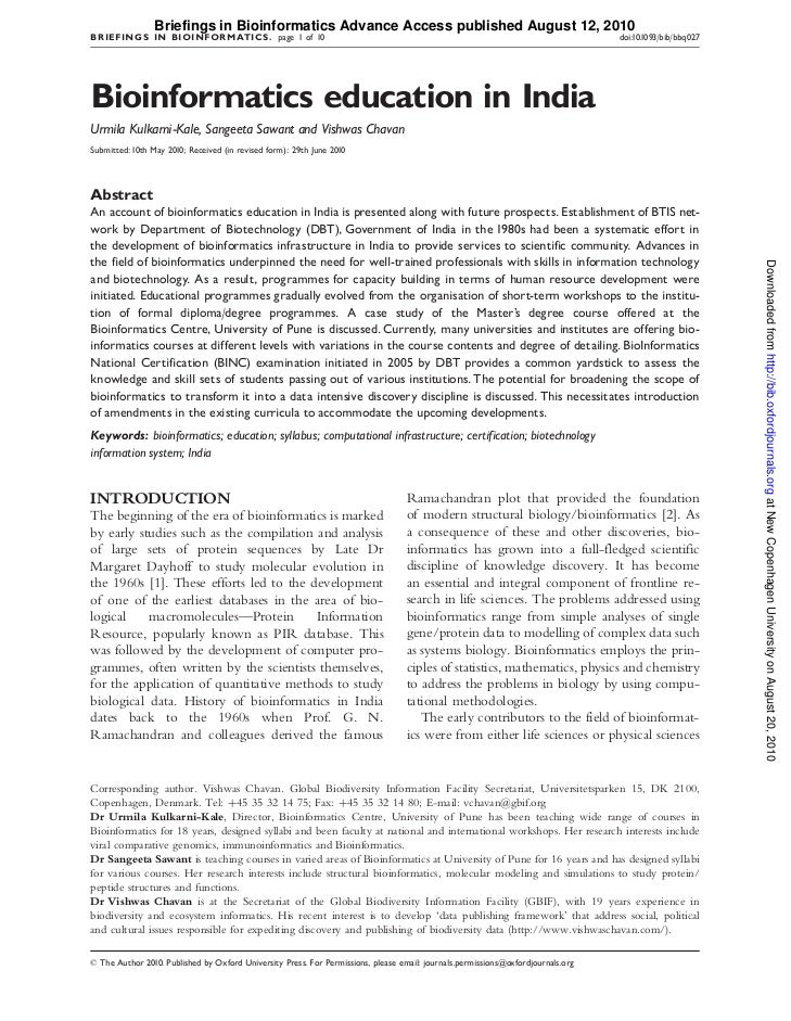 Briefings in Bioinformatics Advance Access published August 12, 2010B RIEFINGS IN BIOINF ORMATICS . page 1 of 10          ...