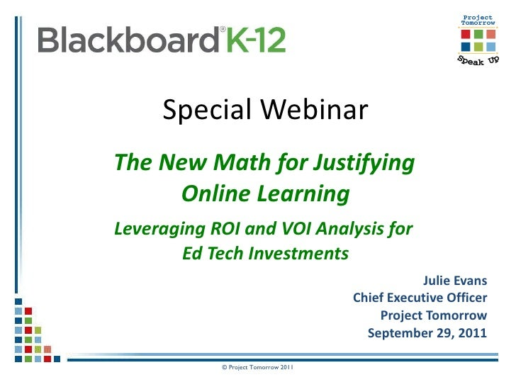 The New Math for Justifying Online Learning Webinar Slides