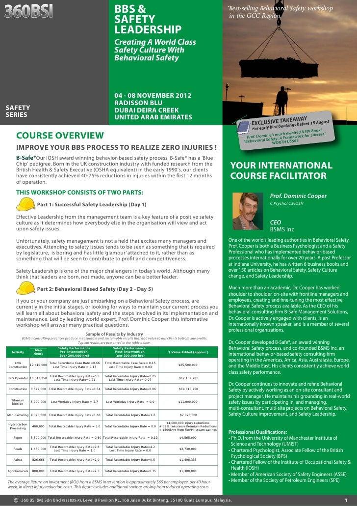 """BBS &                                                                 """"Best-selling Behavioral Safety workshop            ..."""