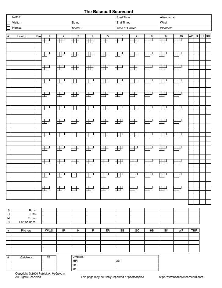 The Baseball Scorecard    Notes:                                                                        Start Time:       ...