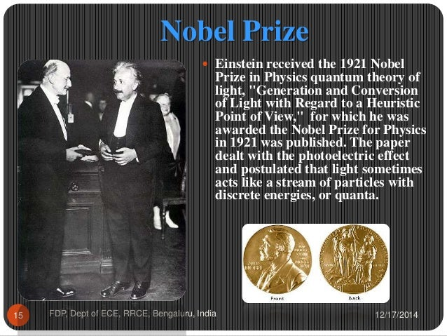 albert einstein as a noble prize essay An ideal of service to our fellow man from 1954, nobel prize-winning physicist albert einstein finds beauty in life's mysteries, and says the fate of mankind depends on individuals choosing public service over private gain.