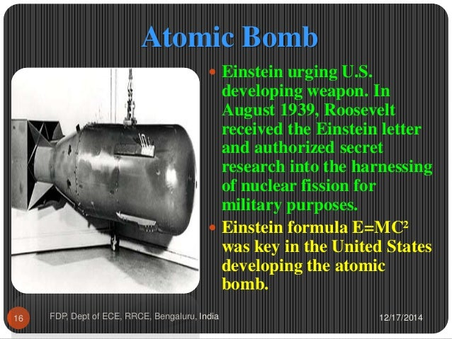 the invention of atomic bomb by albert einstein What did albert einstein invent most famous for his theory of relativity, albert einstein, considered eccentric by many, was a winner of the nobel prize for physics it may come as a surprise for you, but some of his theories and inventions are in use even today.