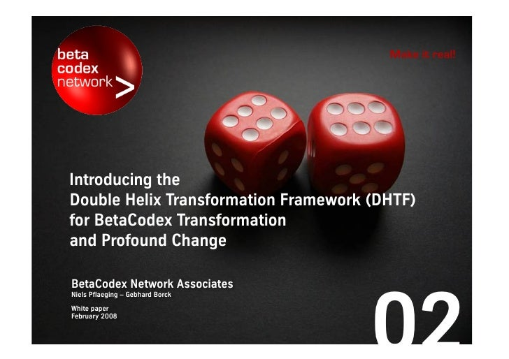 Make it real!     Introducing the Double Helix Transformation Framework (DHTF) for beta codex transformation and profound ...