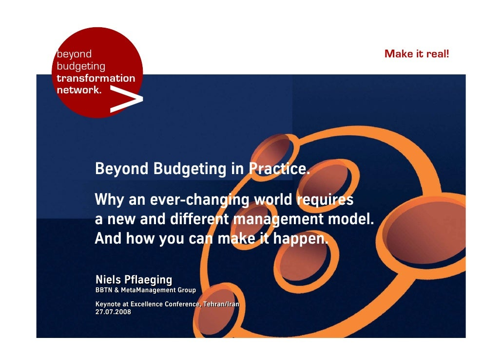 Keynote (EN): Beyond Budgeting in Practice, at Quality & Excellence Conference, Tehran/Iran