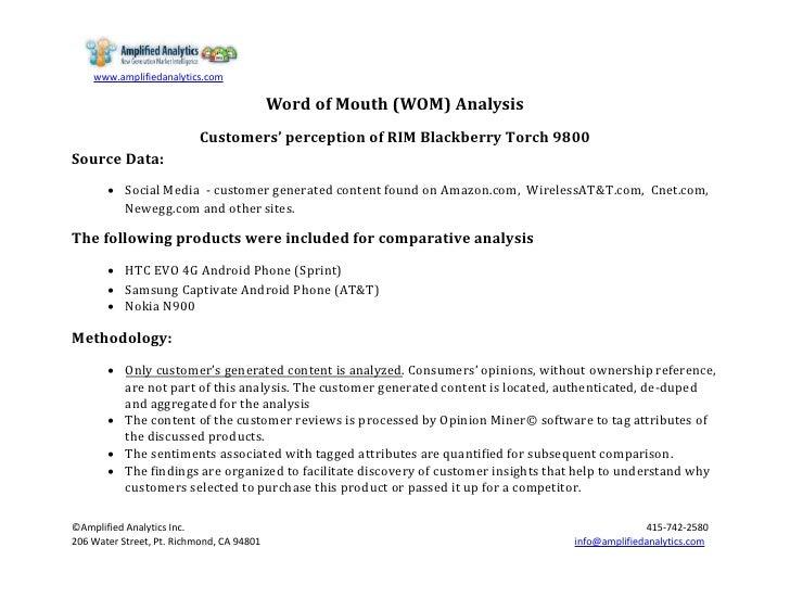 Blackberry Torch WoM analysis