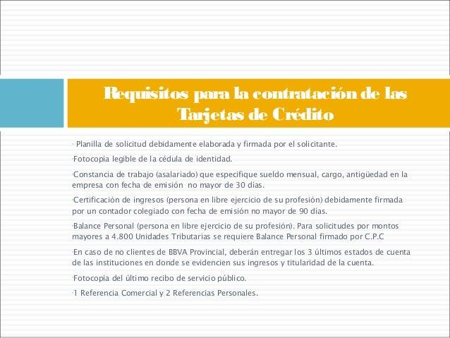 requisitos para solicitar tarjetas de creditos del banco provincial