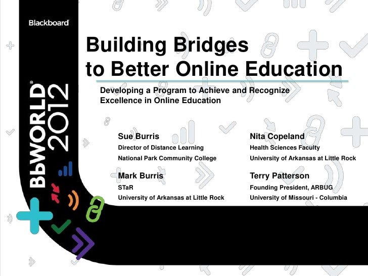 Building Bridgesto Better Online Education Developing a Program to Achieve and Recognize Excellence in Online Education   ...