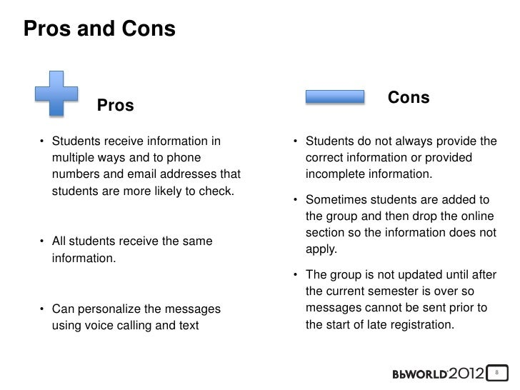 """online learning pros and cons essay Learn why a pros and cons essay isn't an """"i'm right, you're wrong"""" type of essay, and discover the 6 steps to writing one like a pro—wrestlemania style."""